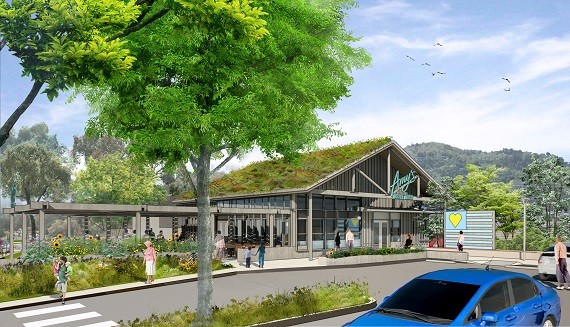 Rendered View from Across Parking Lot