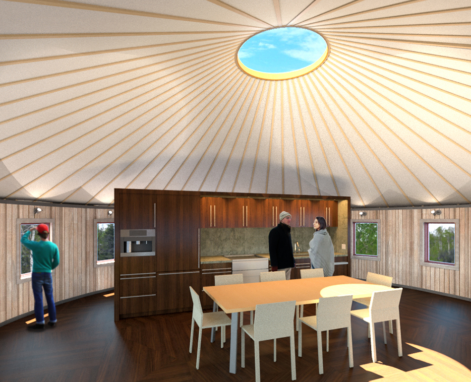 Weatherport Yurt Interior With Loft Design For