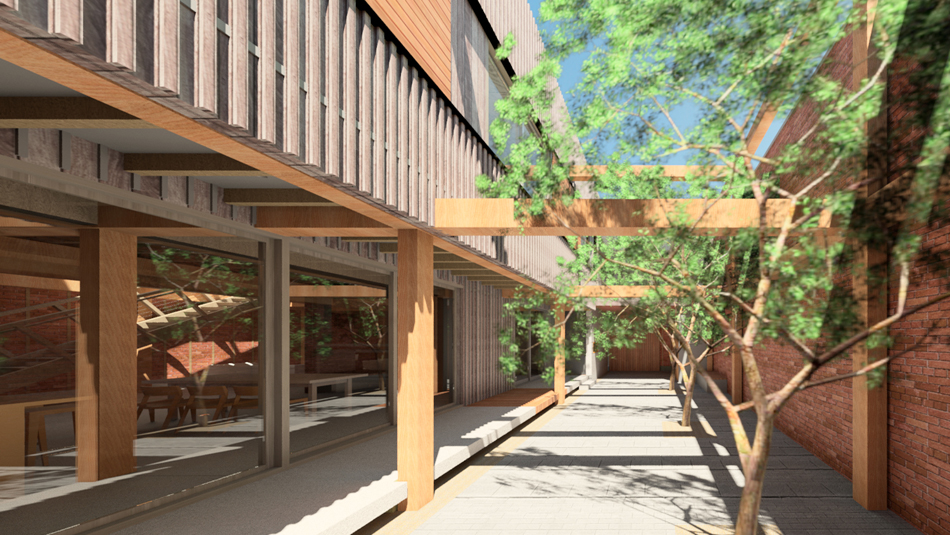 Exterior rendering at courtyard toward entry
