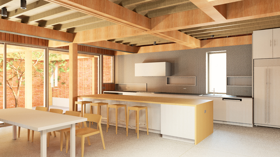 Interior rendering at kitchen