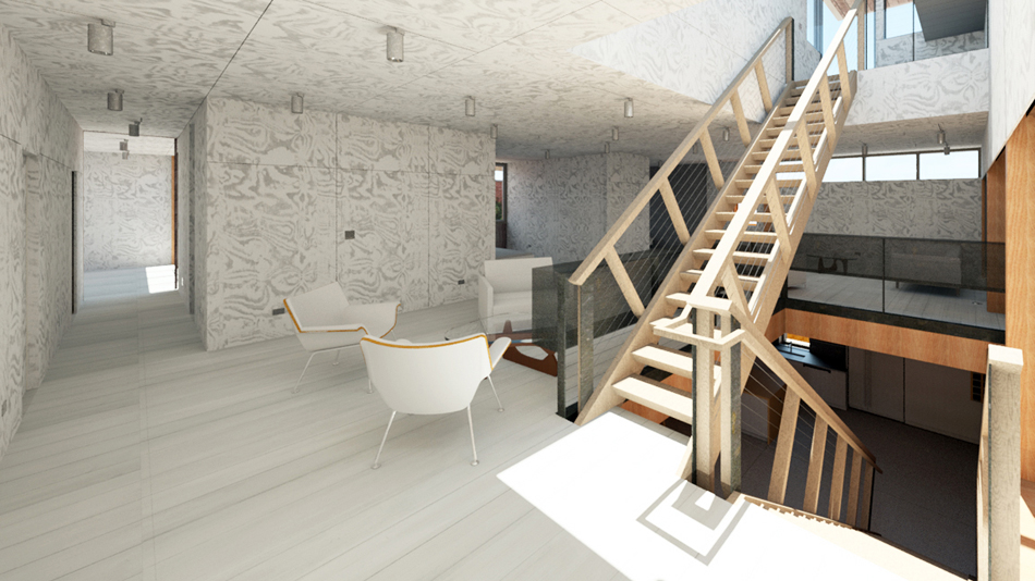 Interior rendering at upper stair